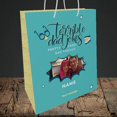 Picture of Terrible Dad Jokes, Father's Day Design, Medium Portrait Gift Bag