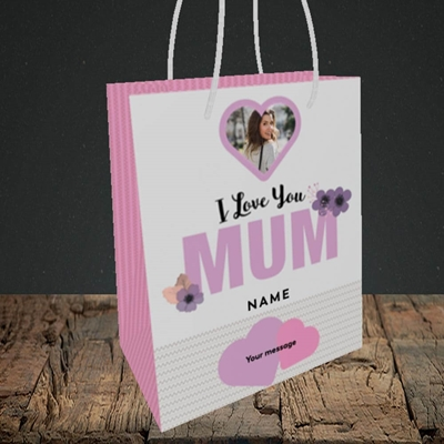Picture of I Love You Mum, Mother's Day Design, Small Portrait Gift Bag