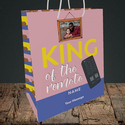 Picture of King Of The Remote, Father's Day Design, Medium Portrait Gift Bag