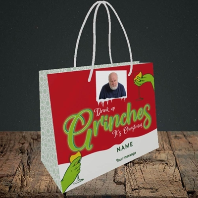 Picture of Drink Up Grinches, Christmas Design, Small Landscape Gift Bag