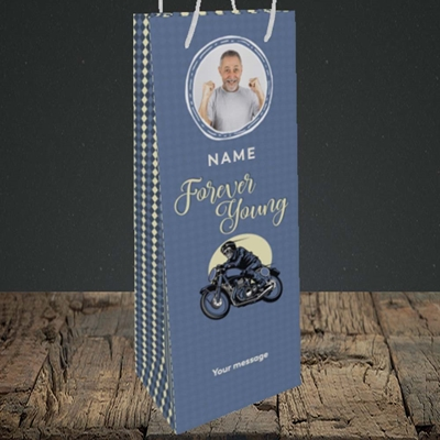 Picture of Forever Young (Motorbike), Birthday Design, Bottle Bag