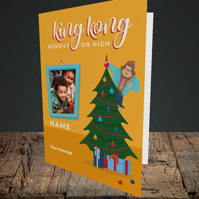 Picture of King Kong, Christmas Design, Portrait Greetings Card