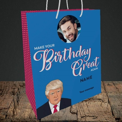 Picture of A Trump Birthday, Birthday Design, Medium Portrait Gift Bag