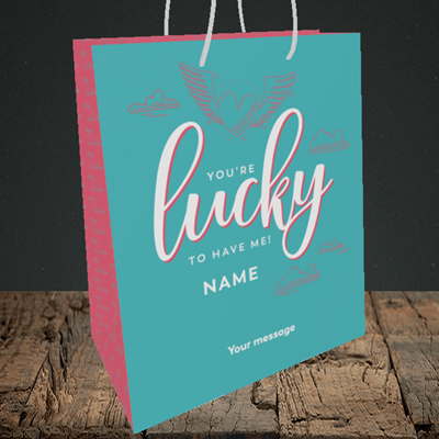 Picture of Lucky To Have Me, (Without Photo) Valentine's Design, Medium Portrait Gift Bag