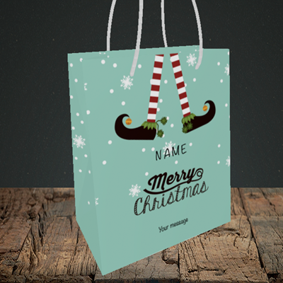 Picture of Elf, (Without Photo) Christmas Design, Small Portrait Gift Bag