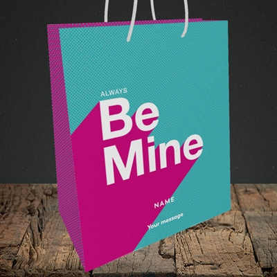 Picture of Always be Mine (type) (Without Photo), Valentine's Design, Medium Portrait Gift Bag