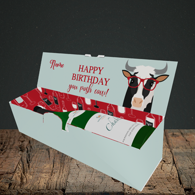 Picture of Cow, (Without Photo) Birthday Design, Lay-down Bottle Box