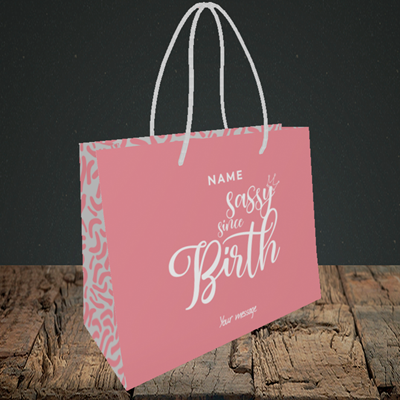 Picture of Sassy, (Without Photo) Birthday Design, Small Landscape Gift Bag