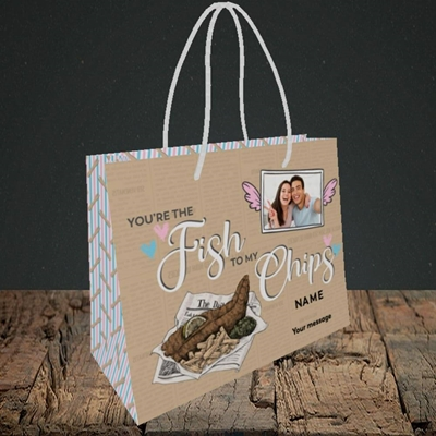Picture of Fish To My Chips, Valentine's Design, Small Landscape Gift Bag