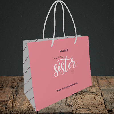 Picture of Soul Sister, (Without Photo) Birthday Design, Small Landscape Gift Bag