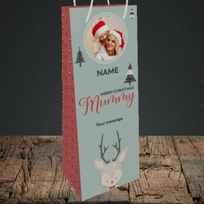Picture of Mummy Deer, Christmas Design, Bottle Bag