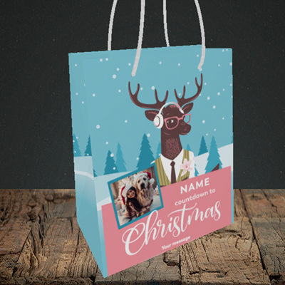 Picture of Countdown, Christmas Design, Small Portrait Gift Bag