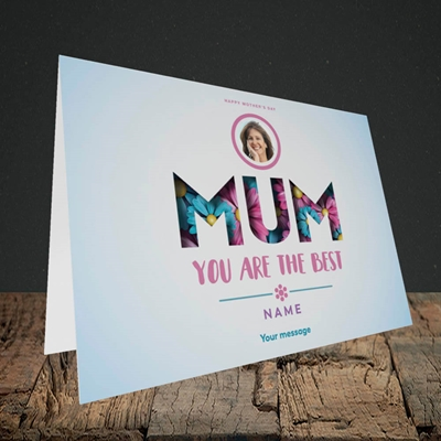 Picture of Mum You Are The Best (flower cut out), Landscape Greetings Card