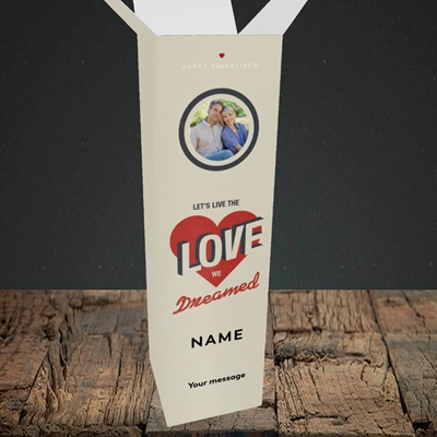 Picture of Let's Live The Love, Valentine's Design, Upright Bottle Box