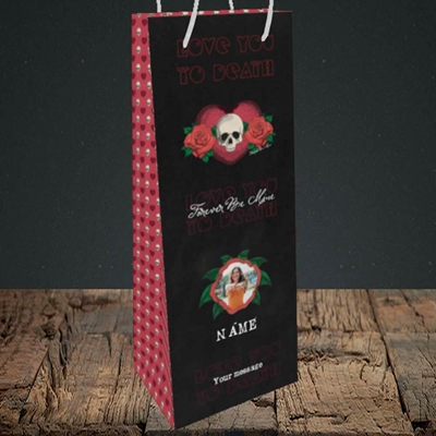 Picture of Love You To Death, Valentine's Design, Bottle Bag