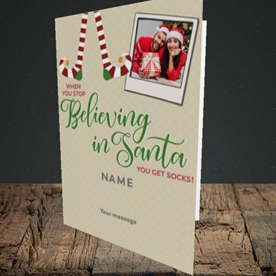 Picture of Believing In Santa, Christmas Design, Portrait Greetings Card