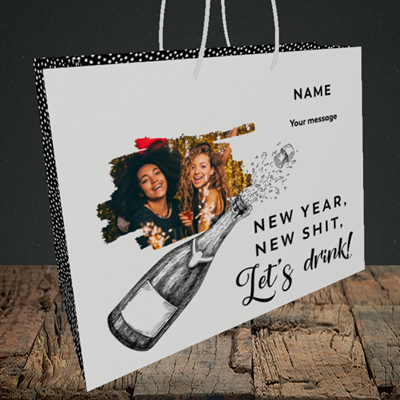 Picture of Let's Drink, New Year Design, Medium Landscape Gift Bag