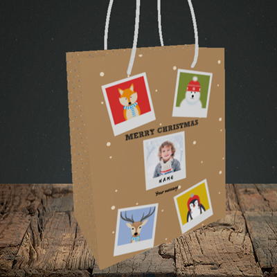 Picture of Animal Polaroid, Christmas Design, Small Portrait Gift Bag