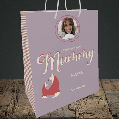 Picture of Foxes Mummy, Birthday Design, Medium Portrait Gift Bag