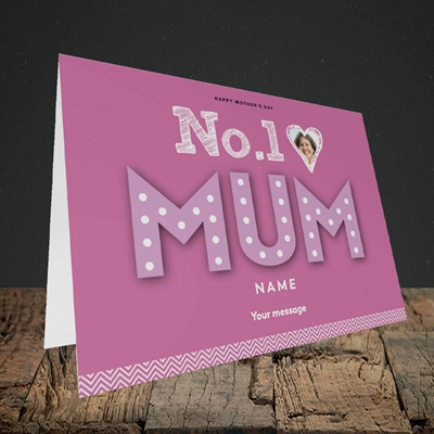 Picture of No.1 Mum (In Lights) Mother's Day Design, Landscape Greetings Card