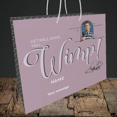 Picture of Wimp!, Get Well Soon Design, Medium Landscape Gift Bag