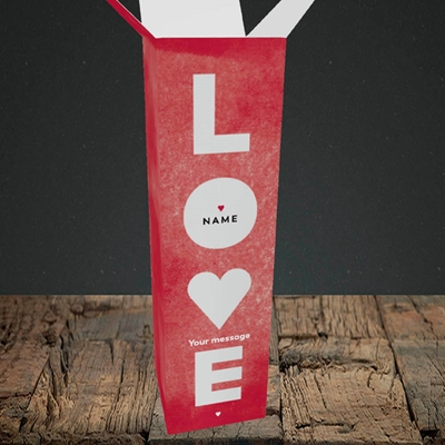 Picture of Love Type (stacked) (Without Photo), Valentine's Design, Upright Bottle Box