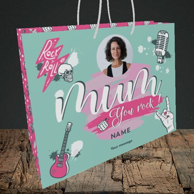 Picture of Mum You Rock, Mother's Day Design, Medium Landscape Gift Bag