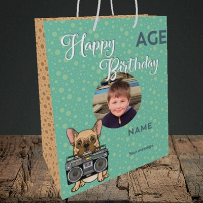 Picture of Boom Box Frenchie, Birthday Design, Medium Portrait Gift Bag
