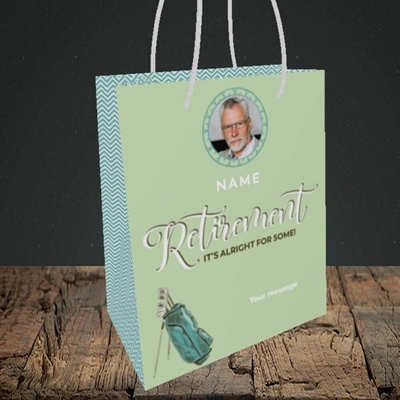 Picture of Retirement Golf, Leaving Design, Small Portrait Gift Bag