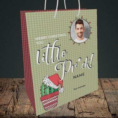 Picture of Christmas Pr*ck, Christmas Design, Medium Portrait Gift Bag
