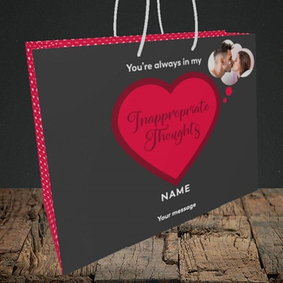 Picture of Inappropriate Thoughts, Valentine's Design, Medium Landscape Gift Bag