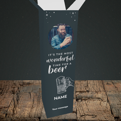 Picture of Time for a Beer, Christmas Design, Upright Bottle Box
