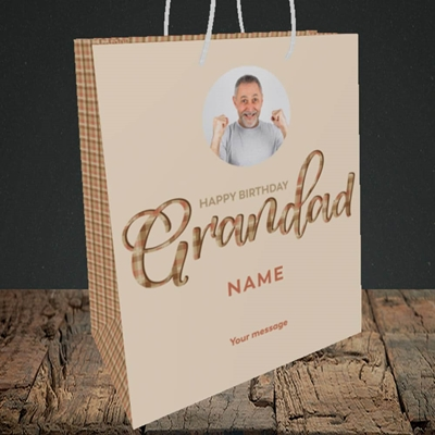 Picture of Grandad, Birthday Design, Medium Portrait Gift Bag