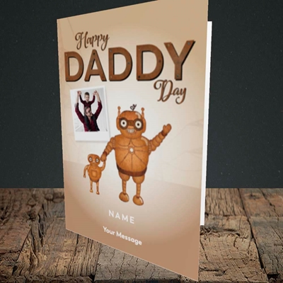 Picture of Daddy Robot, Father's Day Design, Portrait Greetings Card