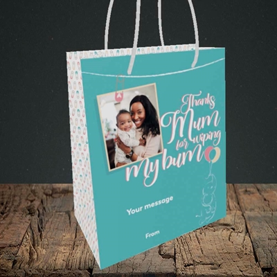 Picture of Wiping My Bum, Mother's Day Design, Small Portrait Gift Bag