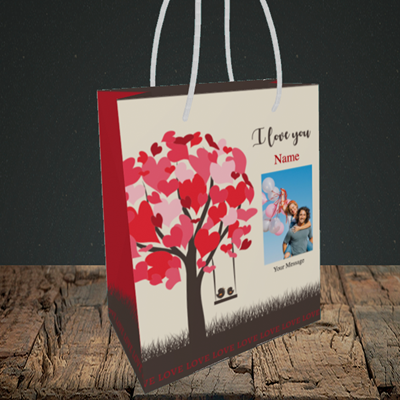 Picture of Lovebirds, Valentine's Design, Small Portrait Gift Bag