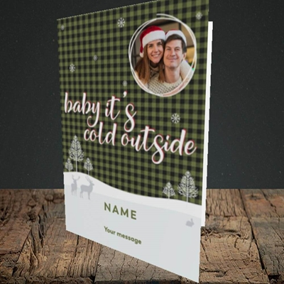 Picture of Cold Outside, Christmas Design, Portrait Greetings Card