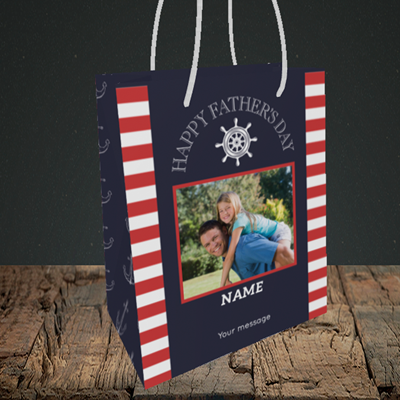 Picture of Nautical, Father's Day Design, Small Portrait Gift Bag
