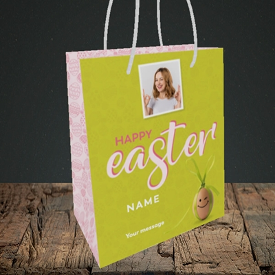 Picture of Bow Bunny Egg, Easter Design, Small Portrait Gift Bag