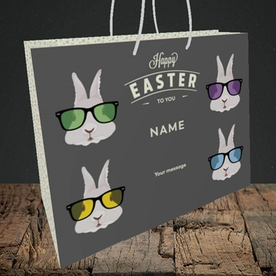 Picture of Hipster Bunnies(Without Photo), Easter Design, Medium Landscape Gift Bag