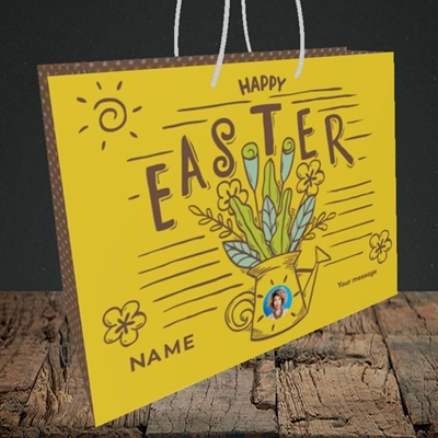 Picture of Watering Can, Easter Design, Medium Landscape Gift Bag