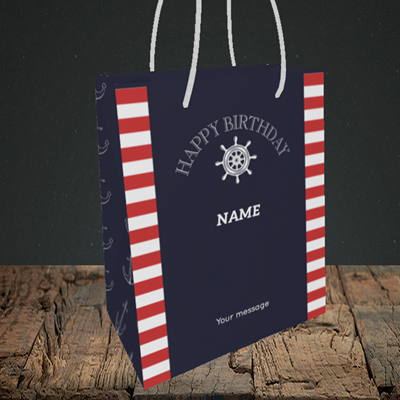 Picture of Nautical, (Without Photo) Birthday Design, Small Portrait Gift Bag