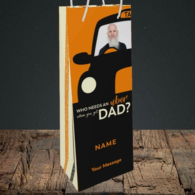 Picture of Uber Dad, Father's Day Design, Bottle Bag