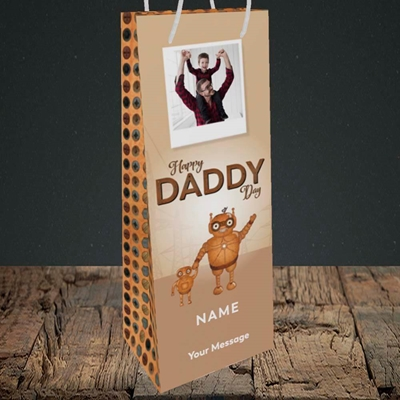 Picture of Daddy Robot, Father's Day Design, Bottle Bag