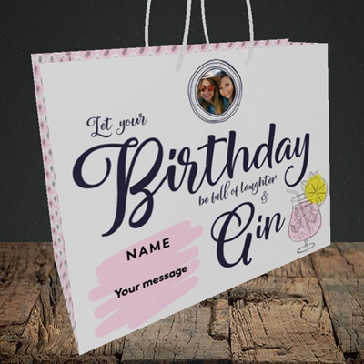Picture of Birthday Full Of Gin, Birthday Design, Medium Landscape Gift Bag
