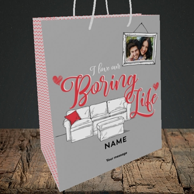 Picture of Boring Life, Valentine's Design, Medium Portrait Gift Bag