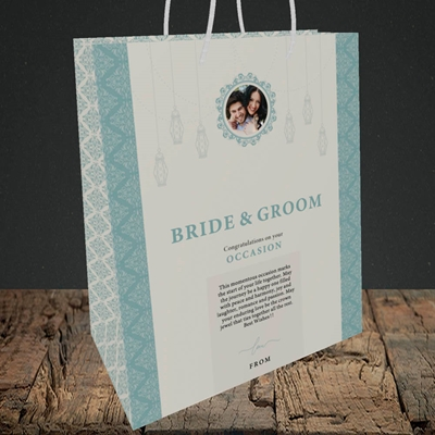 Picture of Moroccan Influences Teal B&G, Wedding Design, Medium Portrait Gift Bag