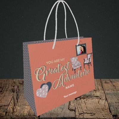 Picture of Greatest Adventure, Valentine's Design, Small Landscape Gift Bag