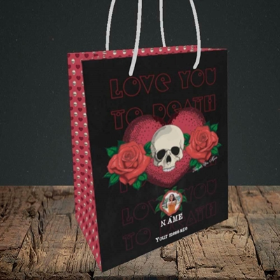 Picture of Love You To Death, Valentine's Design, Small Portrait Gift Bag