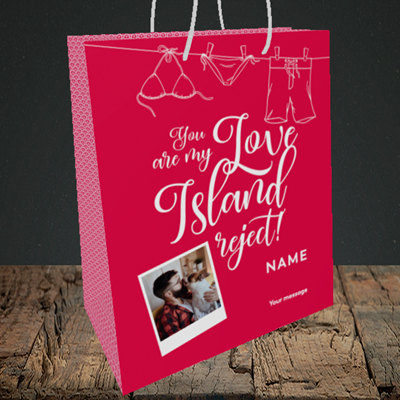 Picture of Love Island Reject, Valentine's Design, Medium Portrait Gift Bag